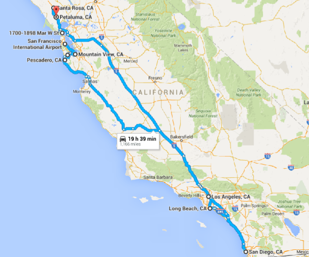 A google maps screenshot of the coast of California. A blue route line connects Santa Rosa to San Diego