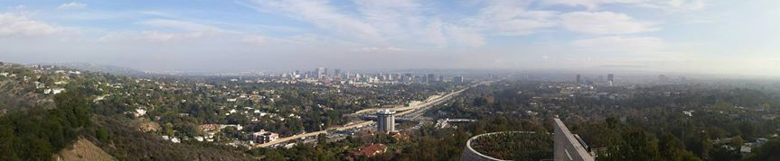 A panorama view of the LA valley and the LA skyline