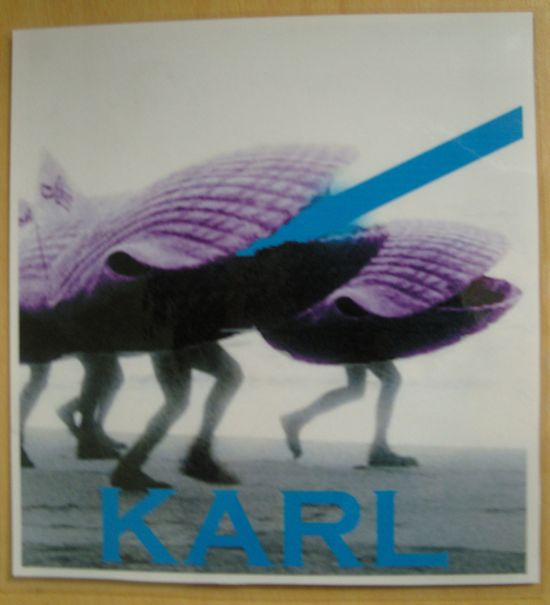 Purple clams with human legs, with the name Karl.
