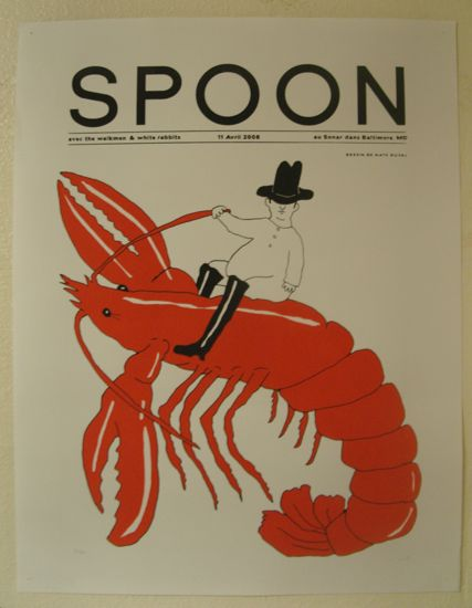 Under the heading SPOON, a cowboy rides a red lobster. Illustration.