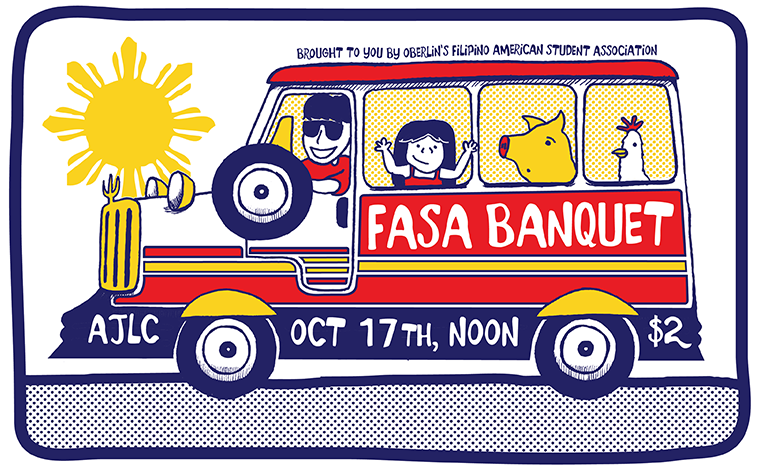 A bus carrying people, a pig and a chicken. Text: FASA Banquey, AJLC Oct 19th, Noon, $2. Brought to you by Oberlin's Filipino American Student Association.