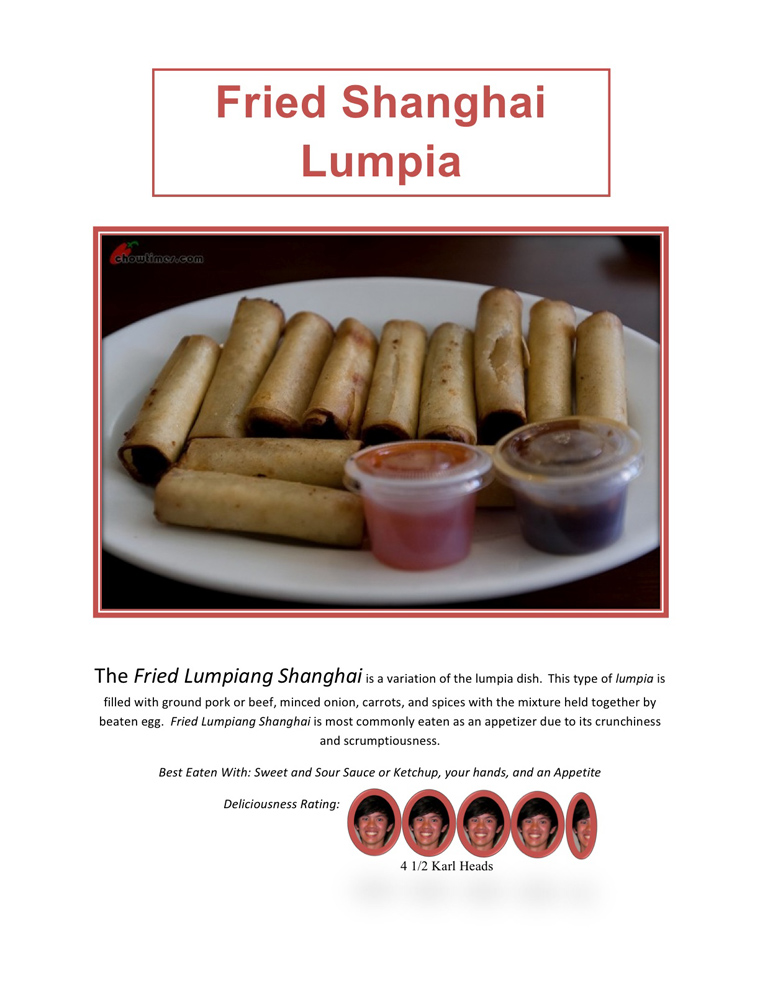 Fried Shanghai Lumpia. Transcription follows.