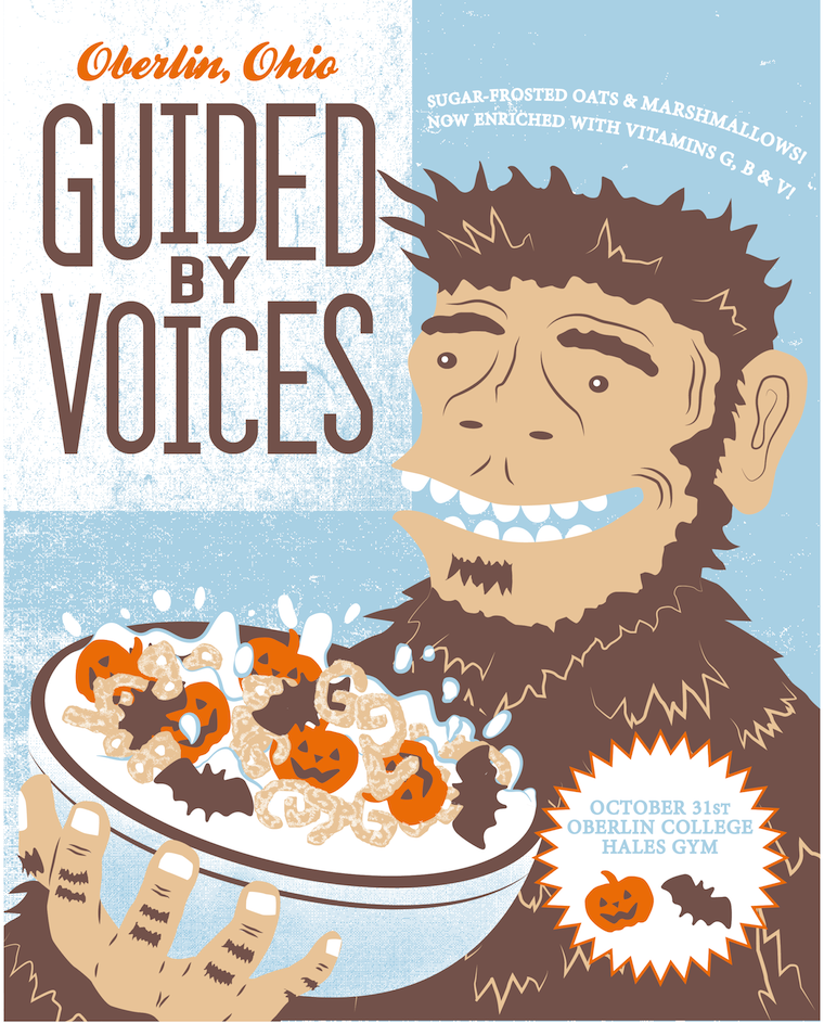 A mock cereal box with the brand name Guided by Voices. Oberlin, Ohio.