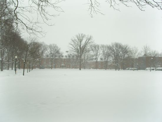 North quad filled with snow