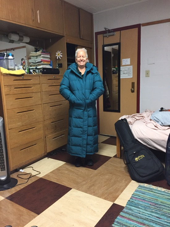 mom wearing a big coat