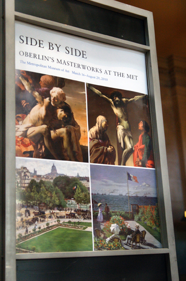 A poster advertising the Met's collection of Oberlin's Masterworks in a show called Side by Side