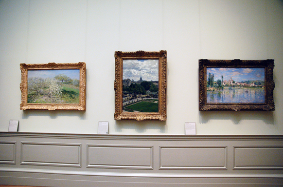 Monet's painting entitled Garden of the Princess, Louvre (center)