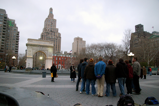 A view of the surrounding buildings of NYC as the Obertones perform in Washington Square