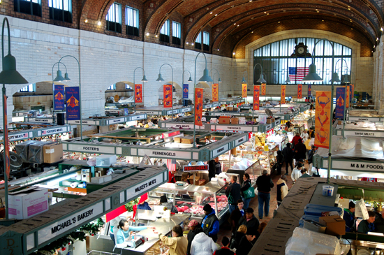 A view from above of the stands at West Side Market