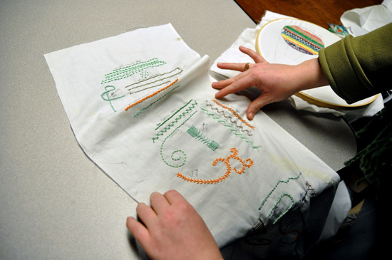Embroidered symbols on a cloth