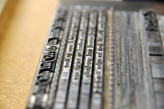 A few lines of text arranged on a letterpress