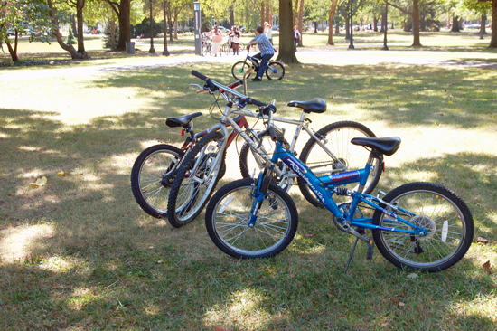 Bikes parked in the grass