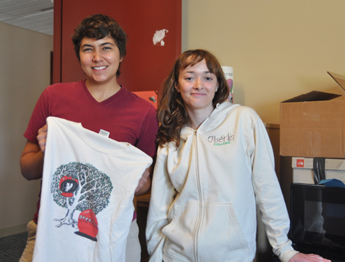 Two more people with Oberlin tee shirts