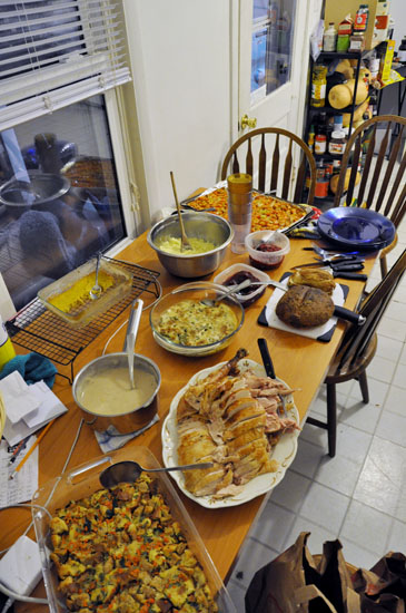 A table filled with thanksgiving food