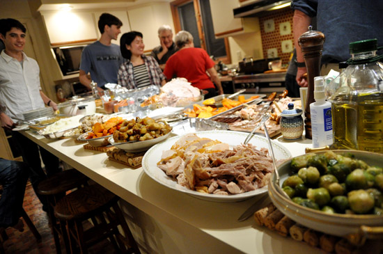 A thanksgiving feast on platters