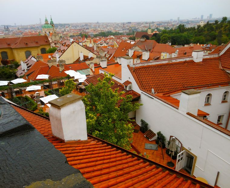 A view of orange roofs