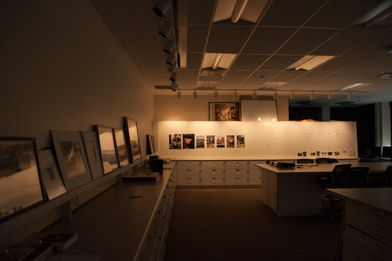 Interior of a modern lab with many photographs