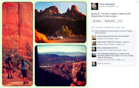 A facebook post featuring multiple photos of a hiking trip in red rocks