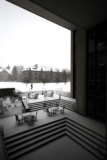 A snowy courtyard outside of Mudd