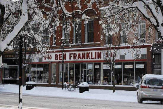 The front of Ben Franklins on a snowy day