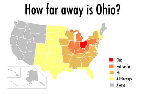 "A map of the U.S. with sections titled ""How Far Away is Ohio?"""