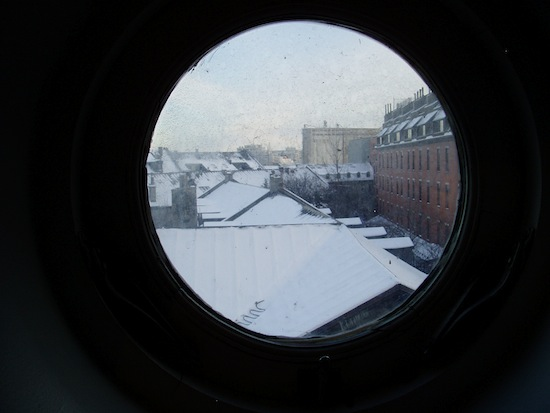 A circular window looking out