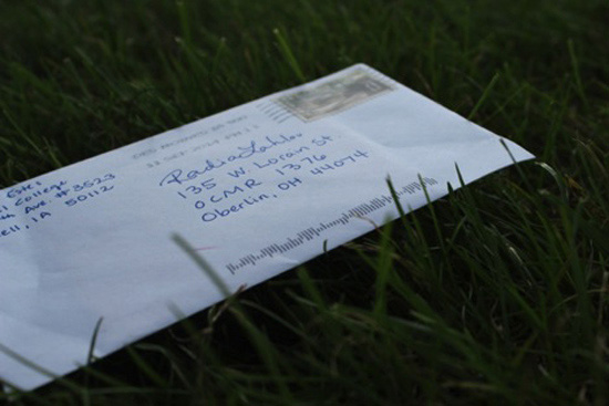 A letter addressed to Radia at their Oberlin mailbox.