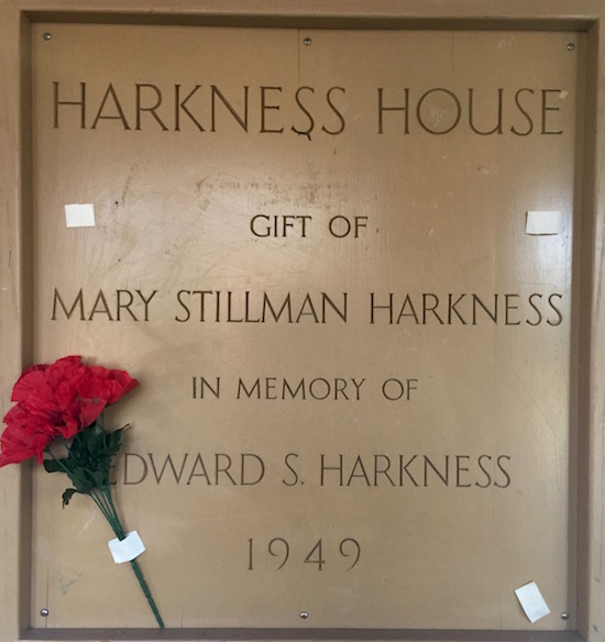 Plaque text: Harkness House, gift of Mary Stillman Harkness in memory of Edward S. Harkness, 1949.