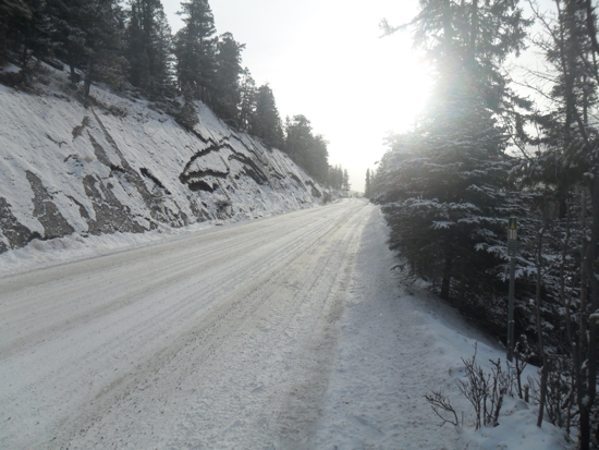 An icy and snowy road