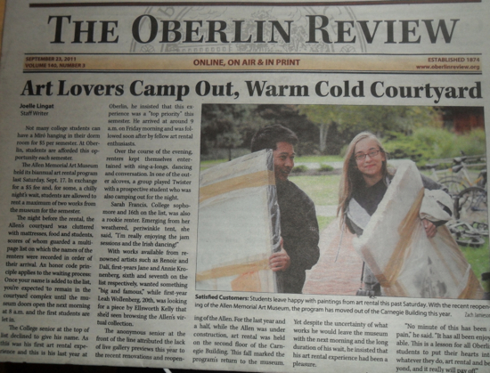 The Oberlin Review with the headline: Art Lovers Camp Out, Warm Cold Courtyard