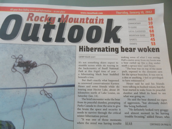 The Rocky Mountain Outlook newspaper with the headline: Hibernating Bear Woken
