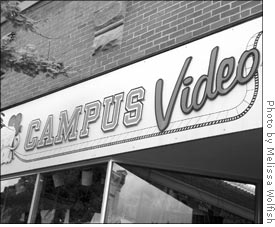 "The sign of a store front: ""Campus Video"""