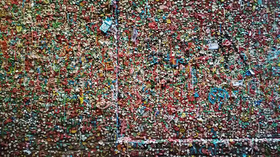 A wall filled with chewed gum