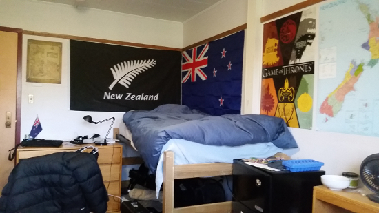 New Zealand flags and a Game of Thrones poster by Teague's bed.