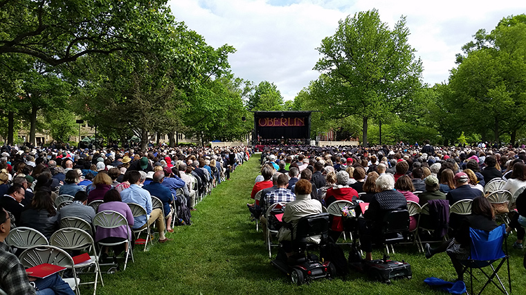 a full crowd at commencement in Tappan square