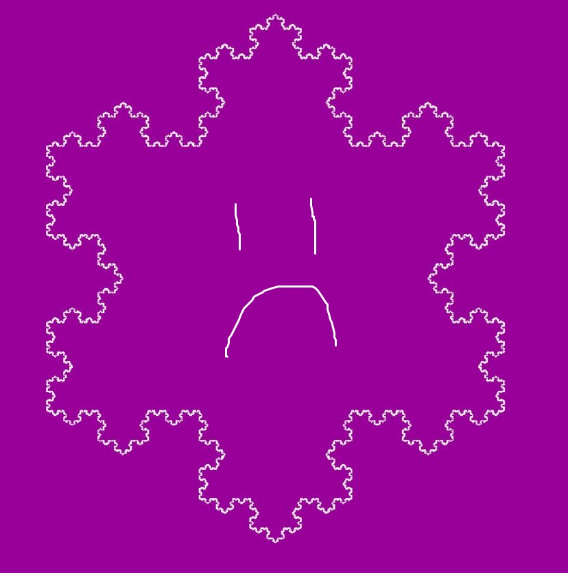 Digital sketch of a frowning face on a solid magenta background