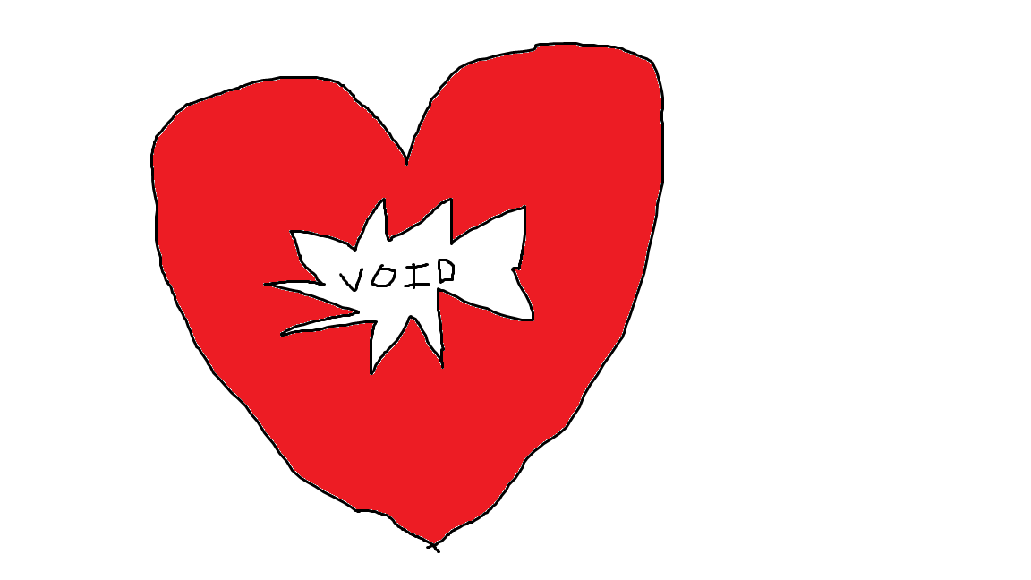 Sketch of a red heart with a tear in the middle, which contains the word 'void'.