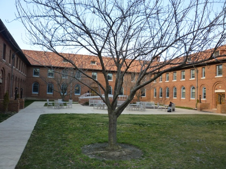 The courtyard, seen from the Fairchild Chapel side.
