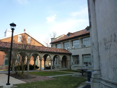 View of the courtyard facing the First Church in Oberlin