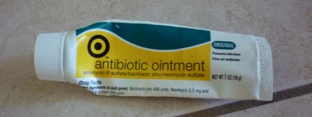 A tube of antibiotic ointment