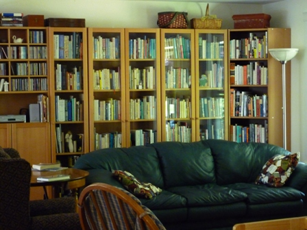Couch surrounded by book shelves