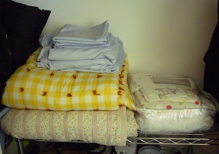 Folded blankets and sheets