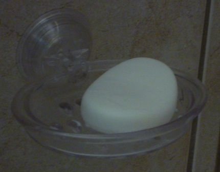 Soap on a stick-on soap dish