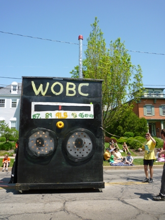 A larger-than-life boom box is tuned to WOBC Radio