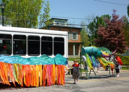 The bus as the dragon's body is followed by a more conventional dragon's tail.