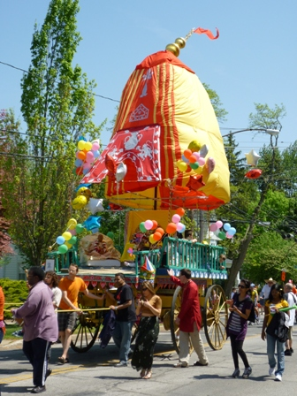 Giant, colorful Hare Krishna wagon