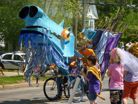 A creature built atop bikes