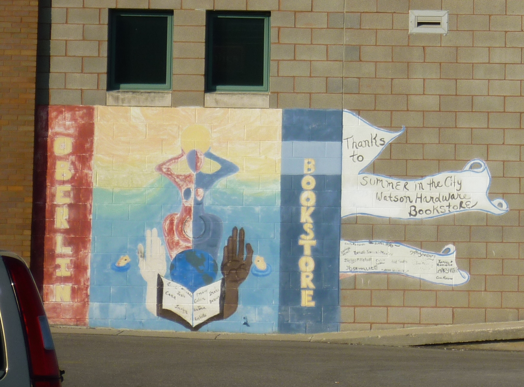 The mural on the back of the Oberlin Bookstore