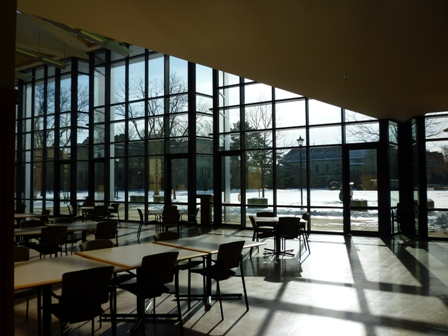 A sunny atrium in the Science Center