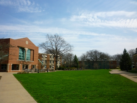 The grass in front of North Hall